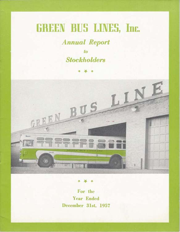 Green Bus Lines, Inc. annual report to Stockholders cover from 12/31/1957