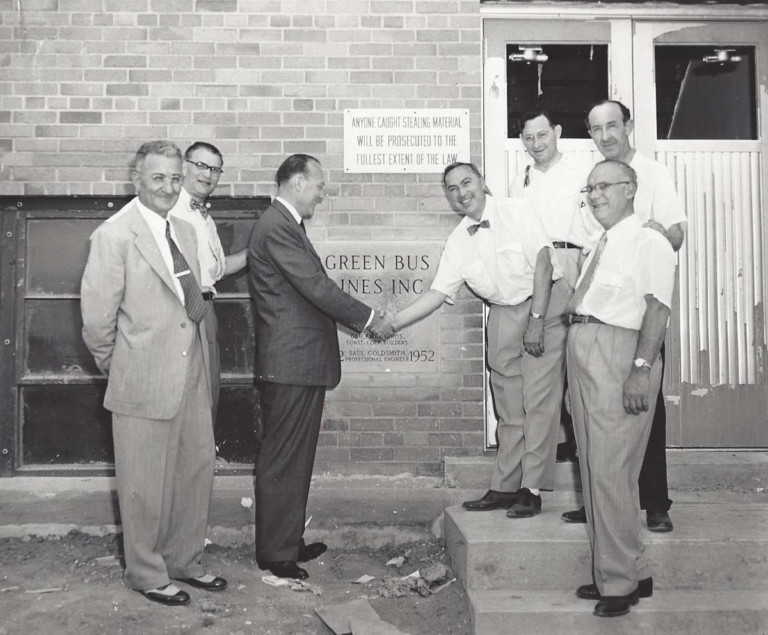 Ground Breaking Green Bus Lines Facility Men Shaking Hands in the 1950s