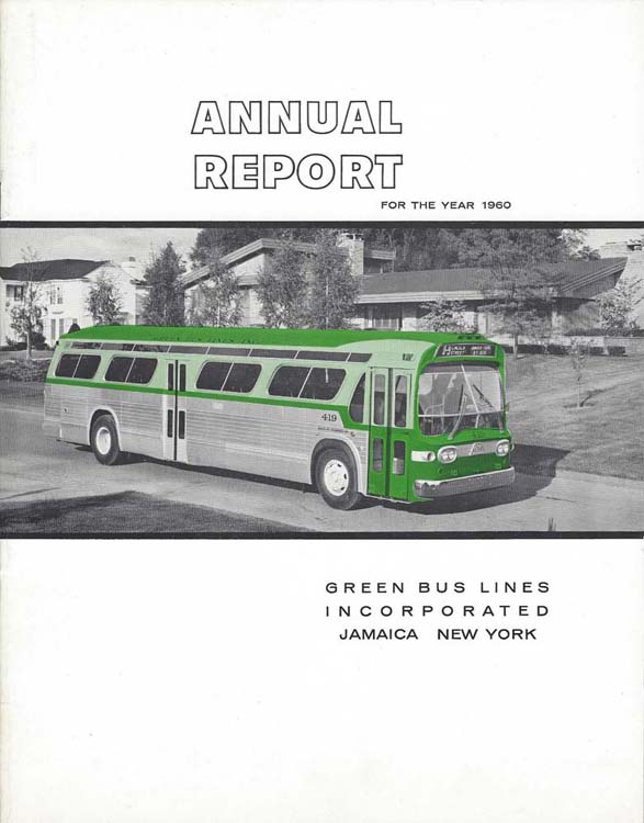 Green Bus Lines annual report cover for 1960